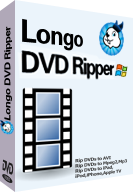 screenshot of Longo DVD Ripper, rip DVDs to AVI, iPhone, iPad, mp4, wmv, mpeg2, mp3 and other formats.